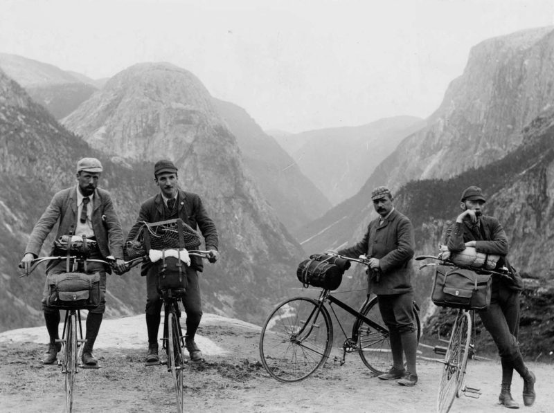 British cycle tourists in Norway, c. 1887.
