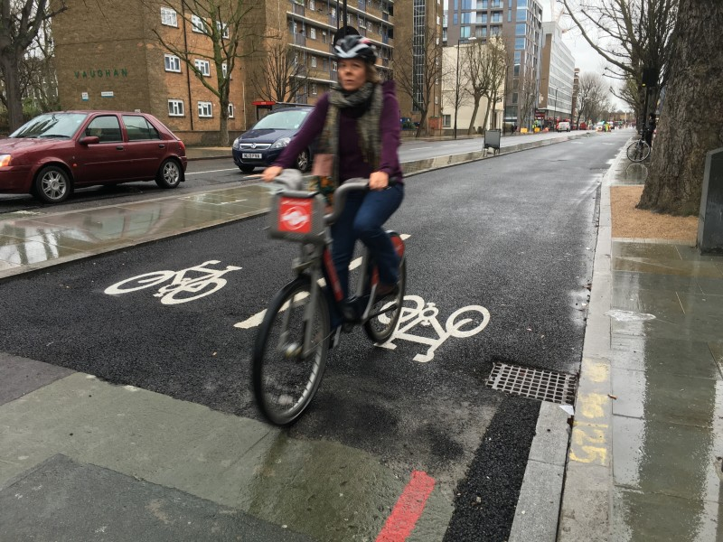 A long stretch of Cycle Superhighway at Blackfriars  is already open for business